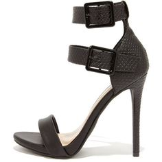 Double Down Black Snakeskin Ankle Strap Heels (1.304.500 IDR) ❤ liked on Polyvore featuring shoes, ankle strap stilettos, stiletto shoes, high heel shoes, black strap shoes and black ankle strap shoes