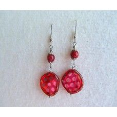 """""""Silver Lady Bug"""": Silver spotted round red bead, silver earwires   2 1/2"""" length   $28"""