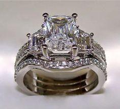 Wedding Rings diamond ring Radiant Cut Engagement Ring with 2 Matching Wedding Bands Radiant Cut Engagement Rings, Engagement Wedding Ring Sets, Wedding Bands, Engagement Bands, Gold Wedding, Platinum Wedding, Trendy Wedding, Wedding Venues, Dream Wedding