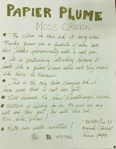 Papier Plume Moss Green - posted in Ink Reviews: