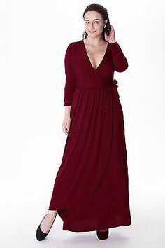 01 Burgundy Women Long Maxi V Formal Evening Party wrap dress Plus Size 26W-28W