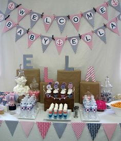 Nautical Baby shower with printables and colors of blue and pink...a new take on a baby shower!
