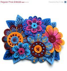 Vintage Bouquet felt flower brooch with freeform by designedbyjane, £13.50