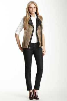 BCBGMAXAZRIA Leather Fur Vest by Non Specific