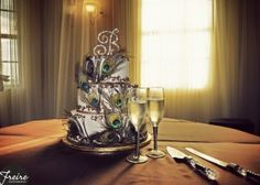 Peacock Feature Wedding Cake