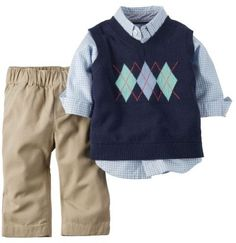 Carter's Baby Clothing Outfit Boys 3-Piece Sweater Vest Set Blue NB