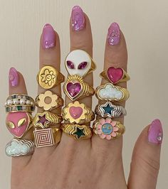 Nail Jewelry, Trendy Jewelry, Cute Jewelry, Jewelry Accessories, Fashion Jewelry, Jewellery Rings, Pink Jewelry, Aesthetic Rings, Nail Ring