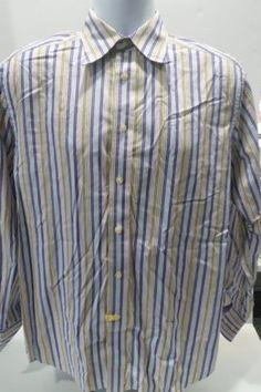 Robert-Graham-LS-Button-Front-Shirt-Stripes-Flip-Cuffs-Size-Medium-M