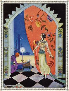 Art prints from all books published with illustrations by Virginia Frances Sterrett: Arabian Nights, Tanglewood Tales, and Old French Fairy Tales. Art And Illustration, Illustration Nocturne, Vintage Illustrations, Botanical Illustration, French Fairy Tales, Inspiration Art, World Literature, Fairytale Art, Art Graphique