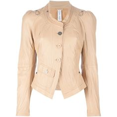 High 'Lovage' jacket ($857) ❤ liked on Polyvore featuring outerwear, jackets, tops, coats, casaco, fitted jacket, leather jacket, beige leather jacket, 100 leather jacket and real leather jacket