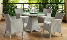 Groupon - Five-Piece Round Dinning Set for With Free Delivery . Round Dining Set, Dinning Set, Month Weather, Garden Table And Chairs, Outdoor Furniture Sets, Outdoor Decor, Waterproof Fabric, Steel Frame, Rattan