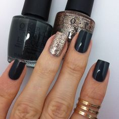 Recreated an old mani of mine from nov 2012. OPI Nein! Nein! Nein! Ok, Fine! And OPI Bring On The Bling.