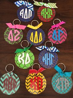Design your own 3 acrylic round keychain or bag tag. All sororities available. Please message me with your vinyl colors, back pattern and greek