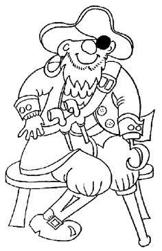 Pirates Medium Sitting Coloring Pages For Kids Printable