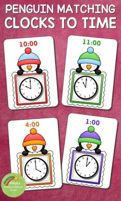 Learning how to read time with the kids in this Penguin Themed Clocks and Time Matching activity cards. The kids will love the colorful penguin boards and the matching clocks.  Clocks available are in hours and half-time.