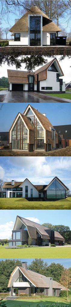 Contemporary Dutch thatched farmhouses