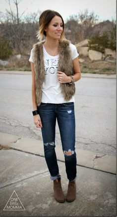 Tee: Old Navy   Vest: Brickyard Buffalo  Jeans: Thrifted (GAP)  Boots: Old Navy  Cuff: ONE little MOMMA  Necklace: Stella and Dot
