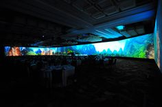 Avollusion specialises in wide-screen projections.   270 projection in a ballroom! 270 degree projection Wide screen projection  #270projection #wideprojection #widescreenprojection #projection #hkprojection