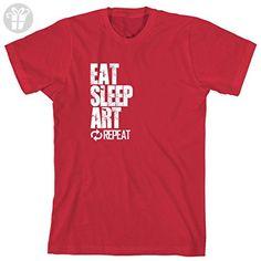 Eat Sleep Art Repeat Men's Shirt - Medium - Red (*Amazon Partner-Link)
