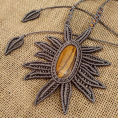 The necklace can sliding to long. Necklace length: Size of mm. Macrame Necklace, Macrame Jewelry, Diy Necklace, Pendant Necklace, Macrame Art, Macrame Projects, Tiger Eye Jewelry, Homemade Necklaces, Tatting Jewelry