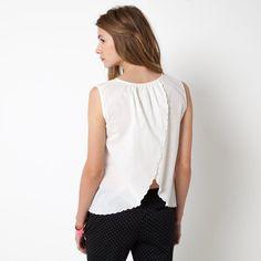 Blusa sin mangas, abertura en la espalda