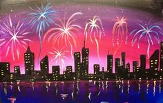 how to paint fireworks with acrylics, how to paint fireworks, Cityscape Painting, City Painting, Canvas Art Projects, Canvas Painting Tutorials, Easy Canvas Painting, Simple Acrylic Paintings, Acrylic Canvas, Canvas Paintings, Painted Canvas, Painting Lessons, Painting Tips