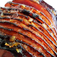A close up of the FARMER JOHN® Orange Bourbon Glazed Spiral Ham! Get your dinner plans started with this bourbon holiday ham recipe!