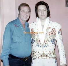 Elvis with his Producer Felton Jarvis Backstage Las Vegas Hilton circa 1974.