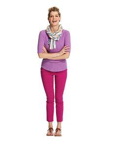 Bright tee + printed scarf + bright pants + flat sandals