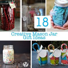 DIY and Crafts. 18 Creative Mason Jar Gift Ideas for your Friends and Family.