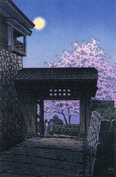 Kawase Hasui Cherry Blossom and Moon at Matsuyama Castle