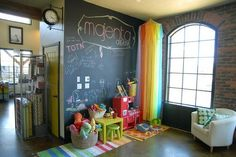 kids playroom- chalkboard wall, ikea decor
