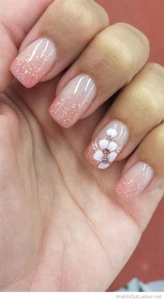 Wonderful Elegant flower nail art and glitter tips The post Elegant flower nail art and glitter tips… appeared first on Nails .