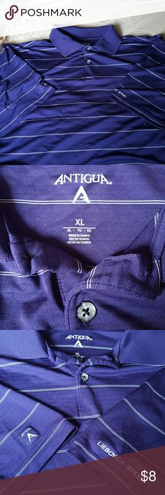 mens polo soft stretchy purple short sleeve polo. color deep purple like the 2nd pic.  white horizontal stripe. marble looking bitton, no pocket. Antigua Shirts Polos
