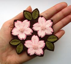 Cherry Blossom Trio felt flower brooch pale pink