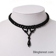 Black Acrylic Bead Flex Gothic Choker #Jewelry http://blingterest.com/necklaces/other-necklaces/black-acrylic-bead-flex-gothic-choker-jewelry/