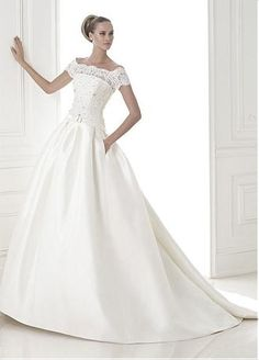 Buy discount Amazing Glamorous Satin A-line Bateau Neckline Dropped Waistline Wedding Dress at Dressilyme.com
