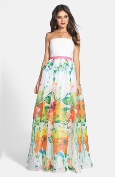 JS Boutique Shirred Chiffon & Floral Print Organdy Strapless Gown available at #Nordstrom