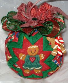 Gingerbread Man Quilted Christmas Ornament
