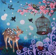 """Sweet Blossom"" 2014 by Josephine DeFrancis. Mixed media on canvas. www.josephinedefrancis.com Sweet Blossom, Mixed Media Canvas, Artwork, Work Of Art, Auguste Rodin Artwork, New Media Art, Artworks, Illustrators"