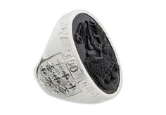 Black Onyx Icarus sculpted Solid Sterling Silver Ring by Regnas, $550.00