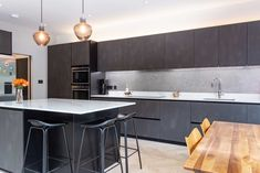 Matt black handleless kitchen with herringbone floor and white worktops create a wonderful large kitchen. Kitchen by Kitchen Co-Ordination Green Kitchen, New Kitchen, Beautiful Kitchens, Cool Kitchens, Kitchen Trends, Kitchen Ideas, Handleless Kitchen, Plywood Kitchen, Kitchens And Bedrooms