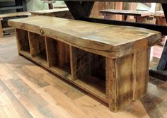 Live Edge Rustic Storage Bench The post Live Edge Rustic Storage Bench appeared first on Stauraum ideen. Rustic Dining Benches, Rustic Storage Bench, Dining Room Bench, Reclaimed Wood Benches, Entry Bench, Dining Table, Western Furniture, Farmhouse Furniture, Rustic Furniture