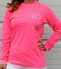 Plus Size Comfort Colors Long Sleeve Monogram T-Shirt in Neon Pink by PalmerTees