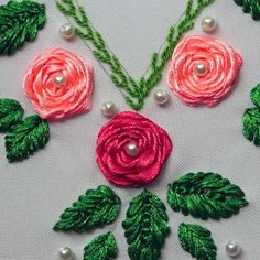 Ribbon Embroidery: Neck with Roses-Bordado en Cintas: Cuello con Rosas In this video I show you how to embroider a neck with roses on ribbons. I hope you like it. Hand Embroidery Patterns Flowers, Ribbon Embroidery Tutorial, Basic Embroidery Stitches, Hand Embroidery Videos, Embroidery Flowers Pattern, Flower Embroidery Designs, Creative Embroidery, Simple Embroidery, Learn Embroidery