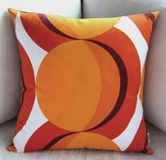Mad Men Retro Pillow Cover  1960s Mod  Orange by atomiclivinhome, $58.00