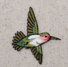 $1.14 Iron On Embroidered Applique Patch Small Red Throat Hummingbird Bird RIGHT