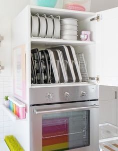 Baking Supply Organization & Inspiration My Colorful Kitchen Reveal Looking for baking sheet organization? Step inside my colorful sprinkle filled baking kitchen! Grab some baking supply organization ideas, be ready to get inspired. I The Sprinkle Factory Baking Storage, Baking Organization, Kitchen Organisation, Kitchen Storage, Organization Ideas, Storage Ideas, Organized Kitchen, Refrigerator Organization, Bed Storage