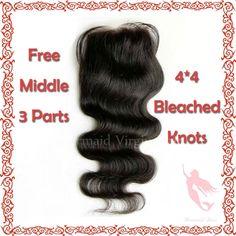 7A Grade Virgin Brazilian Lace Closure Body Wave Natural Color Bleached Knots free/middle/3 Part Virgin Human Hair Closure US $25.00