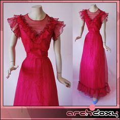 Vintage 1970s Sweet Shocking Pink Frilled Chiffon Abigails Party Maxi Dress UK10 http://ebay.to/1T9DRaT